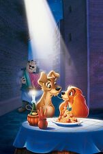 Lady and The Tramp 30x20 Inch Canvas - VERY rare Disney Framed Picture Art