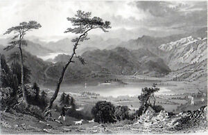 GRASSMERE FROM BUTTER CRAGS, WESTMORLAND 1858 Samuel Lacey - Allom ENGRAVING