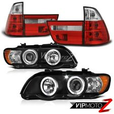 BMW X5 2001-03 Black Halo Projector Headlight+RED/Clear Factory Style Tail Light
