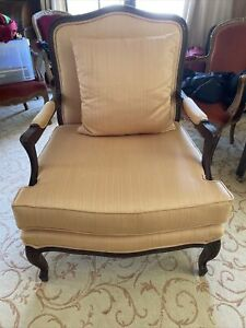 French Louis Style Bergere Boudoir Lounge Arm Chair Silk upholstery Pillow Wood