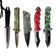 5PC Lot Tactical Fixed Blade Dagger Spring Assisted Green Skull Pocket Knife