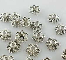 100pcs Tibetan Silver 3x6mm Hollow Flower End Bead Caps Jewelry Findings 3x6mm