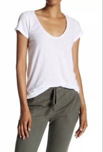 James Perse Standard White Tee T-shirt size 3 / Large, Deep Scoop Neck $95 NWT