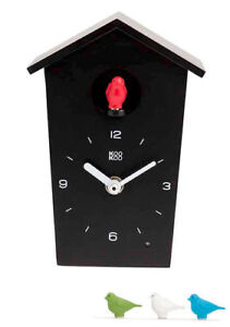 KooKoo Birdhouse Mini New/Boxed Black Modern Design Cuckoo Clock Many Extras