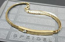 Vintage SPEIDEL Lady Girl GENUINE DIAMOND Gold ID Initial BRACELET w/ Case <NEW>