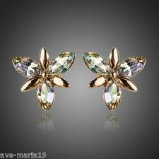 Swarovski Flower Stellux Austrian Crystal 18K Gold Plated Women Stud Earrings