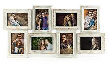 Refinado Marco Oro Blanco Limpiado 8 Fotos Barroco ANTIGUO Galería Collage de