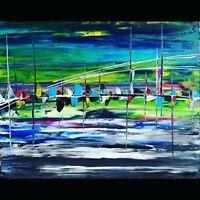 Tableau abstrait contemporain 40 x 50 cm. Œuvre originale de Audrey Granjeaud.