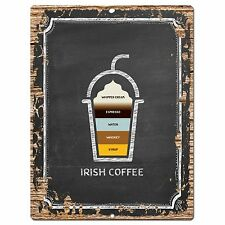 PP0769 Irish Coffee Chic Plate Sign Home Bar Kitchen Cafe Store Shop Decor Gift