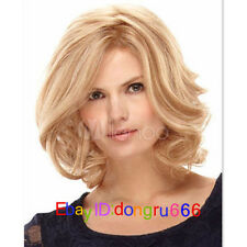 Fashion Blonde Full-Volume Curls Hair Wigs Lounge Medium Wig For Woman