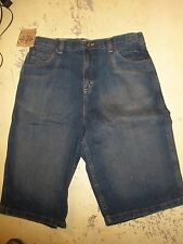 NEW 16H husky blue denim jean long length shorts adjustable waistband Route 66
