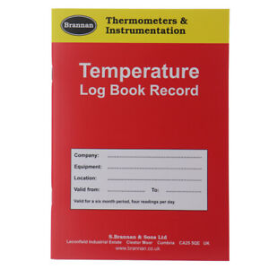 Temperature Log Book 6 Month Hygiene Record Fridge Freezer Thermometer 13/090/0