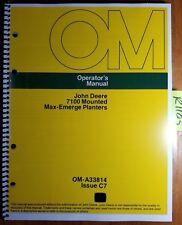 John Deere 7100 Mounted Max-Emerge Planter 4 6 8 Row (1975-1987) Operator Manual