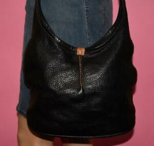 UGG AUSTRALIA Black Pebbled Leather Rugged Classic Hobo Cross-body Bag Purse