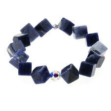 Alias Kim Womens Swarovski Crystal Blue Solidate 10mm Cube Wrist Charm Bracelet