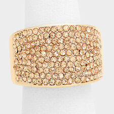 Cocktail Ring Large Wide Cluster Pave Rhinestone Stretch Band Crystal Rose Gold