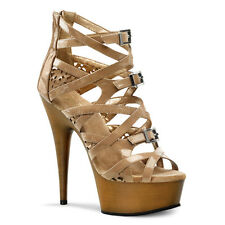 "Delight 600-10 Strappy Criss Cross Bootie Sandal Platform Shoe 6"" Heel  Size 13"