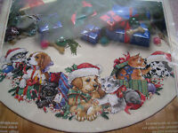 Christmas Dimensions Counted Cross Tree Skirt KIT,FRISKY FRIENDS,Dog,Cat,8743,45