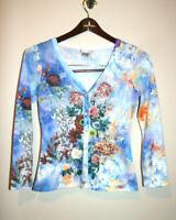 Womens ALBERTO MAKALI Blue Floral Print Long Sleeve Cardigan Sweater Small S
