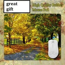 Landscape scenery Fall Gravel road  Anti slip COMPUTER MOUSE PAD 9 X 7inch