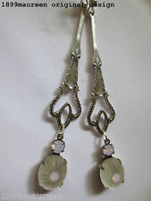 Art Nouveau Art Deco earrings frosted glass opal Edwardian vintage style wedding