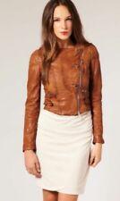 KAREN MILLEN Urban Luxe Collarless Washed Tan Leather Biker Jacket, UK 10, EU 38