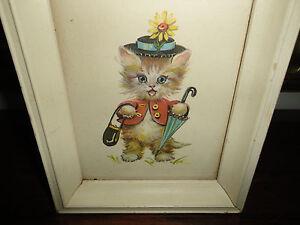 Antique 1956 Donald Art Co NY Print #1809 CAT KITTEN Original Frame