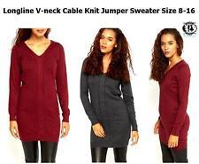Viscose V Neck Plus Size Long Jumpers & Cardigans for Women