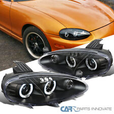 For 01-05 Mazda Miata MX5 MX-5 Black LED Halo Projector Headlights Lamps Pair