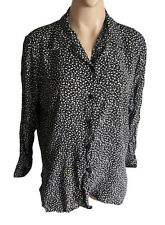 "VINTAGE Eighties Black/white Ladies blouse UK size 12/14 VISCOSE 48"" chest"