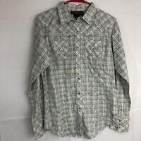 Women's Ariat Western Wear Shirt M Plaid Pearl Snap Long Sleeve Sheer