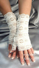 SEXY IVORY LACE FINGERLESS GLOVES