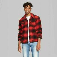 Men's Original Use Plaid Sherpa Trucker Jacket Majesty Red Size XS MSRP $40