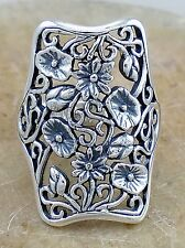 EXOTIC .925 STERLING SILVER LONG FILIGREE FLORAL RING size 8  style# r2339