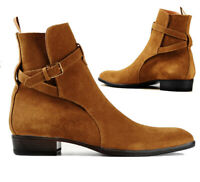 Men's Handmade Jodhpurs Ankle Boot Men Tan Ankle High Suede Boot, leather boots