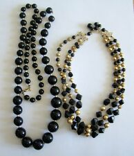 2 Necklaces Black & Gold Tone Beaded Necklaces Costume