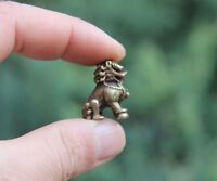 Chinese 100% Pure Bronze Foo Dog Lion Play Ball Animal Beast Statue Sculpture
