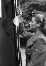 WW2  Photo WWII  German Female Soldier Flag  World War Two Wehrmacht / 2489