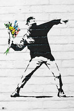 FULL COLOUR BLACK BANKSY FLOWER BOMBER POSTER ART PRINT 24x36 FREE SHIP