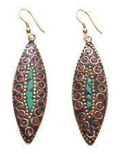 Exuberant Turquoise, Red &  Gold Embroidered Leaf/ Tibetan Metal Earrings(Ns9)