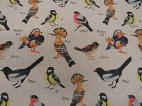 Bullfinch Magpie Birds Digital Printed Linen Cotton Fabric Curtain Upholstery