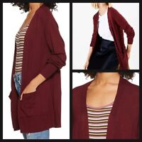 NEW Ex M&S Ladies Open front Cardigan with pockets Wine Red Size XS - XL