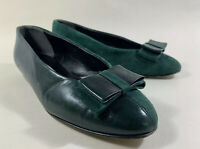 Fiordiluna Green Leather Suede Bow Front Ballet Flats Shoes Leather Soles UK 4.5