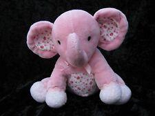 Carters Pink Floral Elephant Plush Rattle Animal White Polka Dot Feet Lovey
