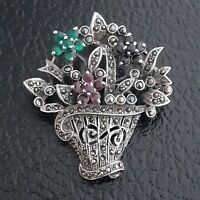 Vintage 1980s 925 Sterling Silver Marcasite 'Basket of Flowers' Brooch Pin