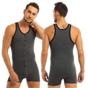 Herren Einteiler Body Unterwäsche mit Bein Druckknopf Unterhemd Bodysuit Grau L
