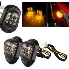 2x Motorcycle 9 LED Amber Flush Mount Turn Signals Indicators Blinker Lights 12V