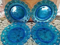 "VINTAGE ""MP"" BLUE GLASS PLATES SET OF 4 Pierced Beaded 9 1/4"" DIAMETER"
