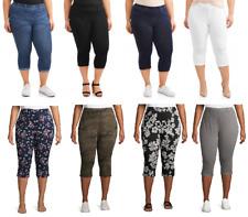 Terra & Sky Women's Plus Size Pull on 2 Pocket Stretch Jegging Capri