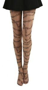 NUDE WITH BARBED WIRE TATTOO EFFECT TIGHTS GOTHIC PUNK ROCKER FUNKY SEXY GOTH